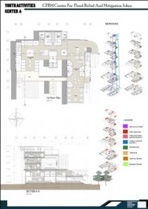 1st floor plan, section A-a and services diagara
